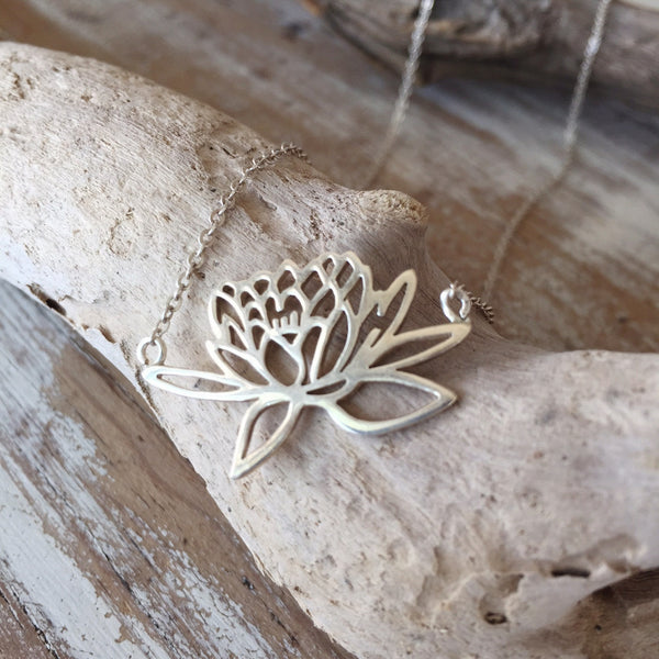 Rising Lotus Sterling Silver Necklace