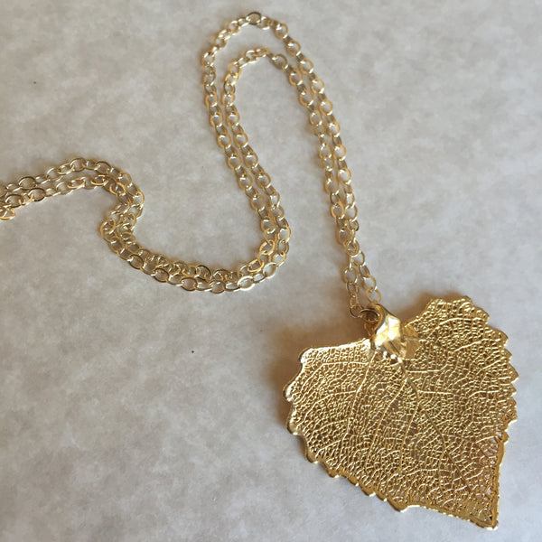 ** ONLY 2 LEFT ** Gold Cottonwood leaf necklace
