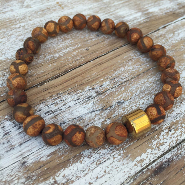POWER & COURAGE MEN'S BRACELET - TIBETAN AGATE