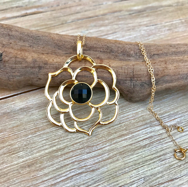 ** ONLY 1 LEFT ** Onyx Flower Essence Necklace