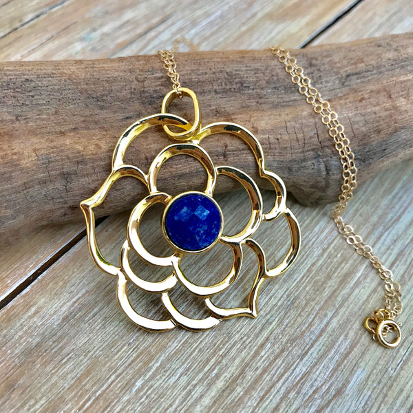 ** ONLY 1 LEFT ** Lapis Flower Essence Necklace