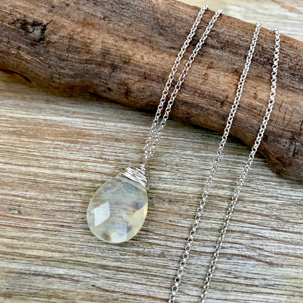 ** ONLY 1 LEFT ** Yellow Quartz Silver Wrapped Necklace