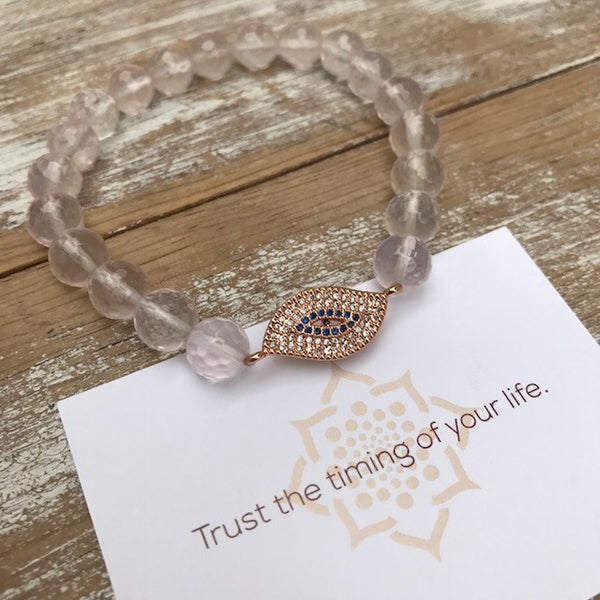 Trust Love Rose Quartz Bracelet