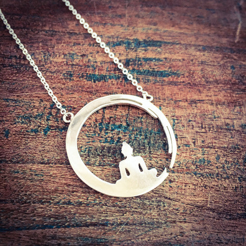 Peaceful Buddha Sterling Silver Necklace
