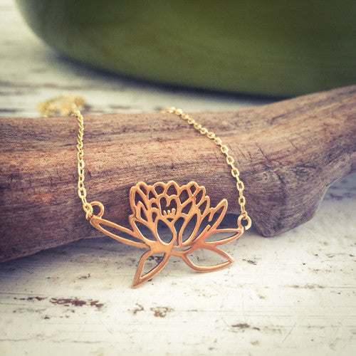 ** Sold out ** Rising Lotus Gold Necklace