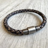 Men's Silver Colored Leather Bracelet