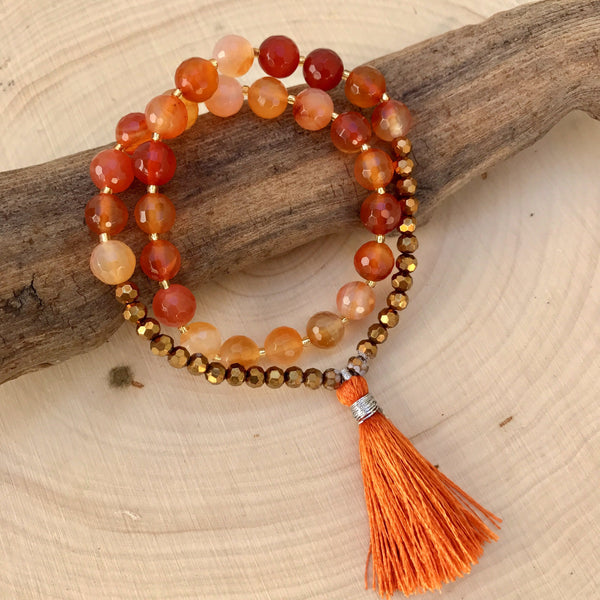 ** Only 1 Left ** New Beginnings - Carnelian Wrist Mala