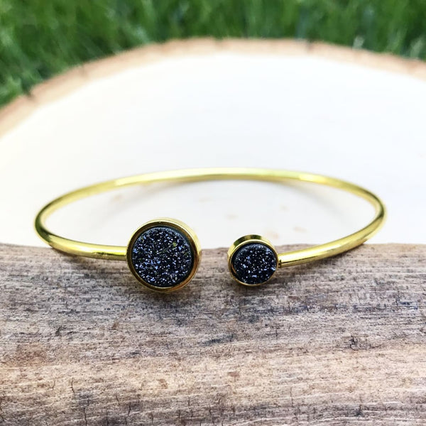 Sparkling Magic - Brass Black Druzy Cuff