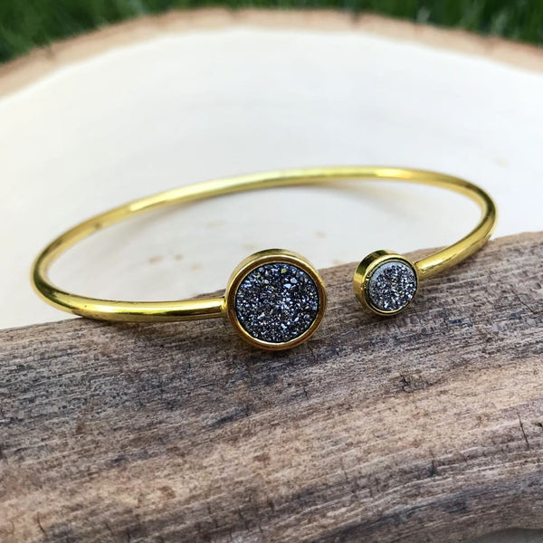 Sparkling Magic - Brass Silver Druzy Cuff