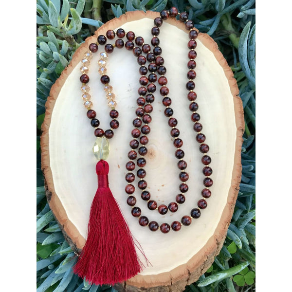 I AM Focused & Empowered - Tigers Eye 108 Mala - Necklace