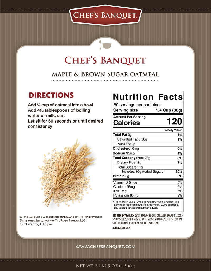 Maple and Brown Sugar Oatmeal 300 Servings (Case of 6