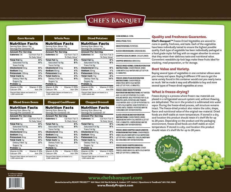 Chef's Banquet Vegetable Variety Food Storage Nutrition Facts