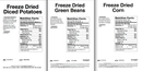 Chef's Banquet Freeze Dried Vegetable Food Storage Nutrition Facts