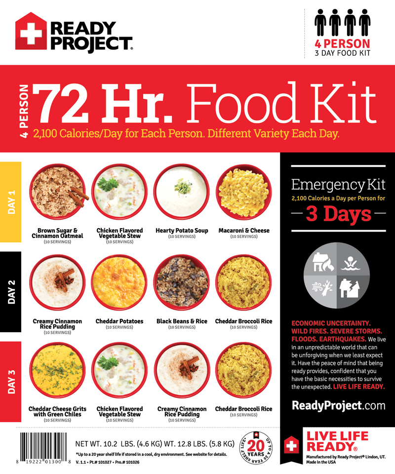4 Person 72 hour Emergency Food Kit