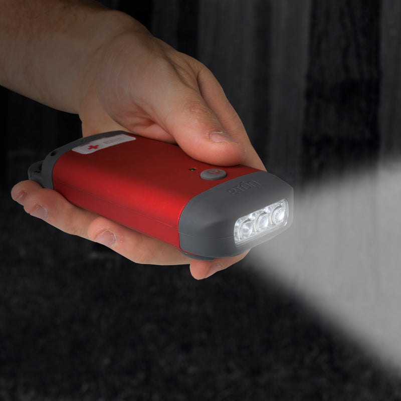 Eton American Red Cross Clip Ray hand crank powered LED flashlight and phone charger