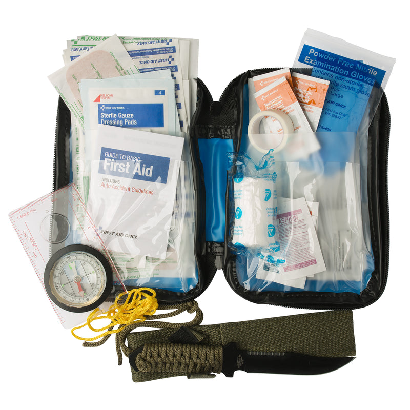 First Aid Kit Compass Survival Knife