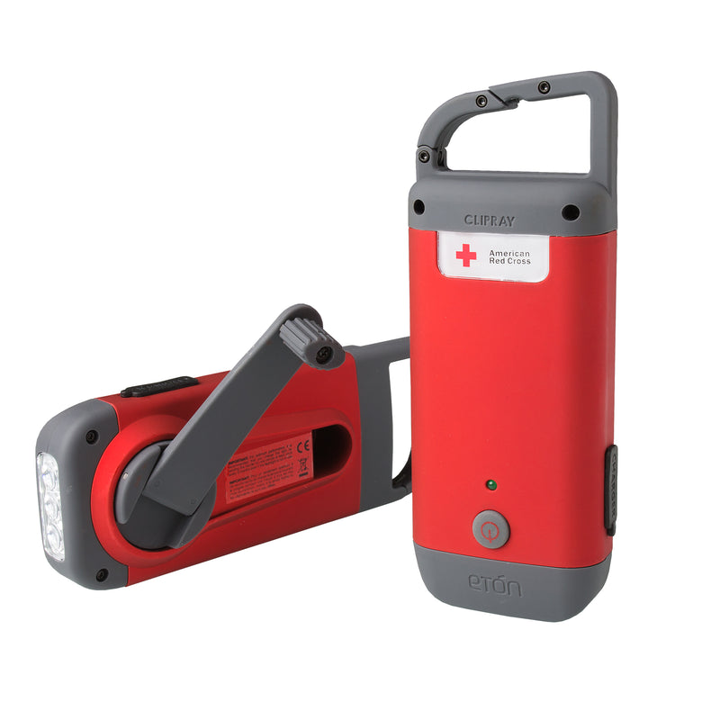 Eton American Red Cross Clip Ray hand crank cell phone charger and Flashlight