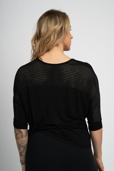 Sara 3/4 Sleeve Mesh-Back Top