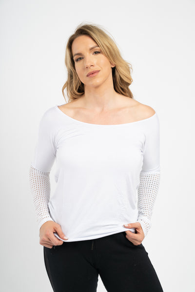 Marie Long-Sleeve Top with Mesh-Back Sports Bra