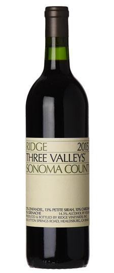 Ridge 2015 Three Valleys Zinfandel, Sonoma