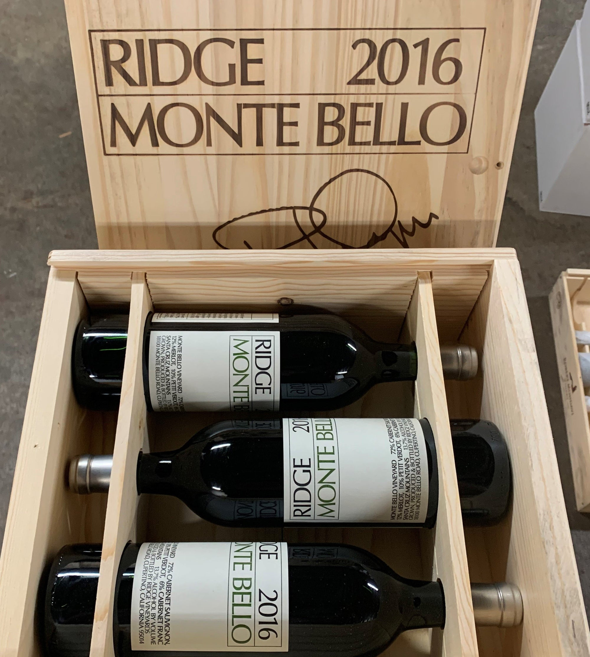 Ridge 2016 'Monte Bello' Vineyard Cabernet Sauvignon, Santa Cruz Mts 3-Pack in OWC