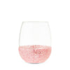 Glimmer: Pink Glitter Silicone Wrapped Stemless Wine Glasses
