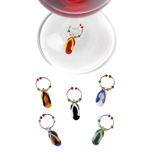 Flip Flop™: Glass Wine Charms
