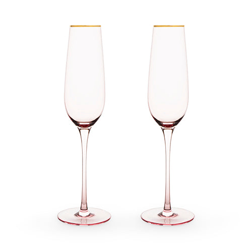 Rose Crystal Champagne Flute Set by Twine®