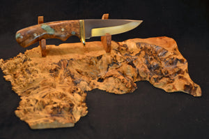 Display hunting knife on burl stand