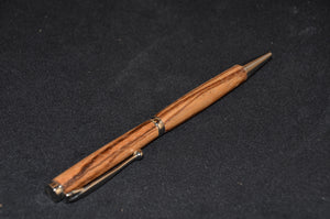 Hand turned, wood pen. African Zebrawood with silver