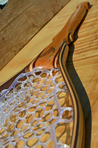 Birdseye maple trout net with wood burned art