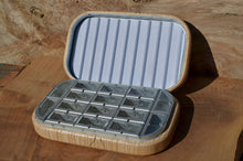 "Load image into Gallery viewer, 4x6"" Tiger maple Fly box with compartments and rippled foam"