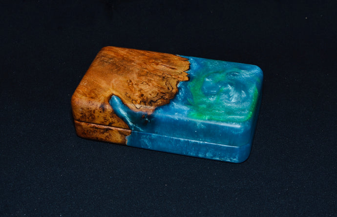 "3x5"" maple burl and blue epoxy"