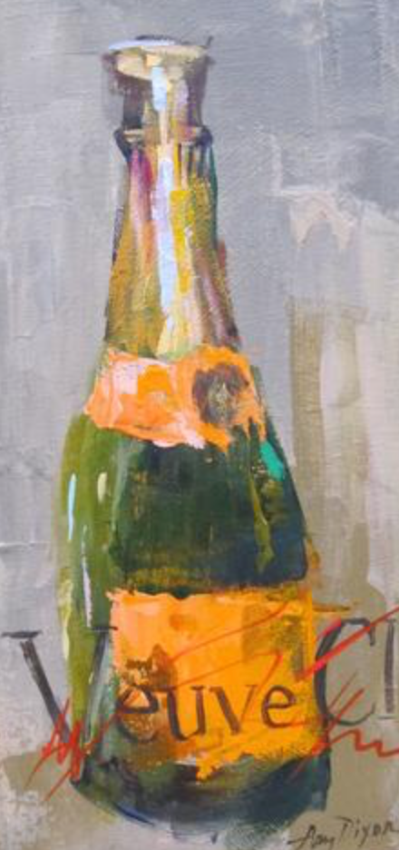 "We can't keep Amy Dixon's charming <a href=""https://huffharrington.com/collections/amy-dixon/products/amy-dixon-veuve-graphic"" target=""_blank"">Veuve Cliquot</a> bottles on the wall."