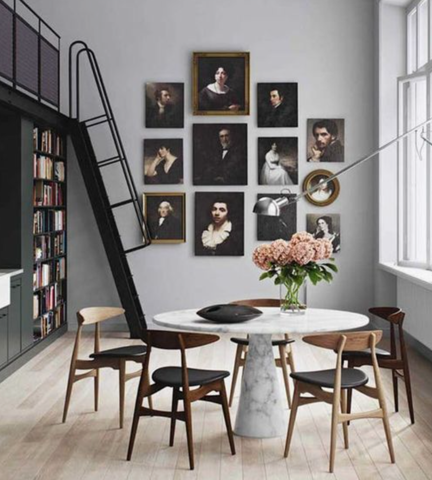 "Clean lines and modern furnishings make the perfect backdrop for this beautifully hung grouping of portraits. Swoon!  (<a href=""http://studiotwentyseven.com/"" target=""_blank"">Studio Twenty Seven</a>)"