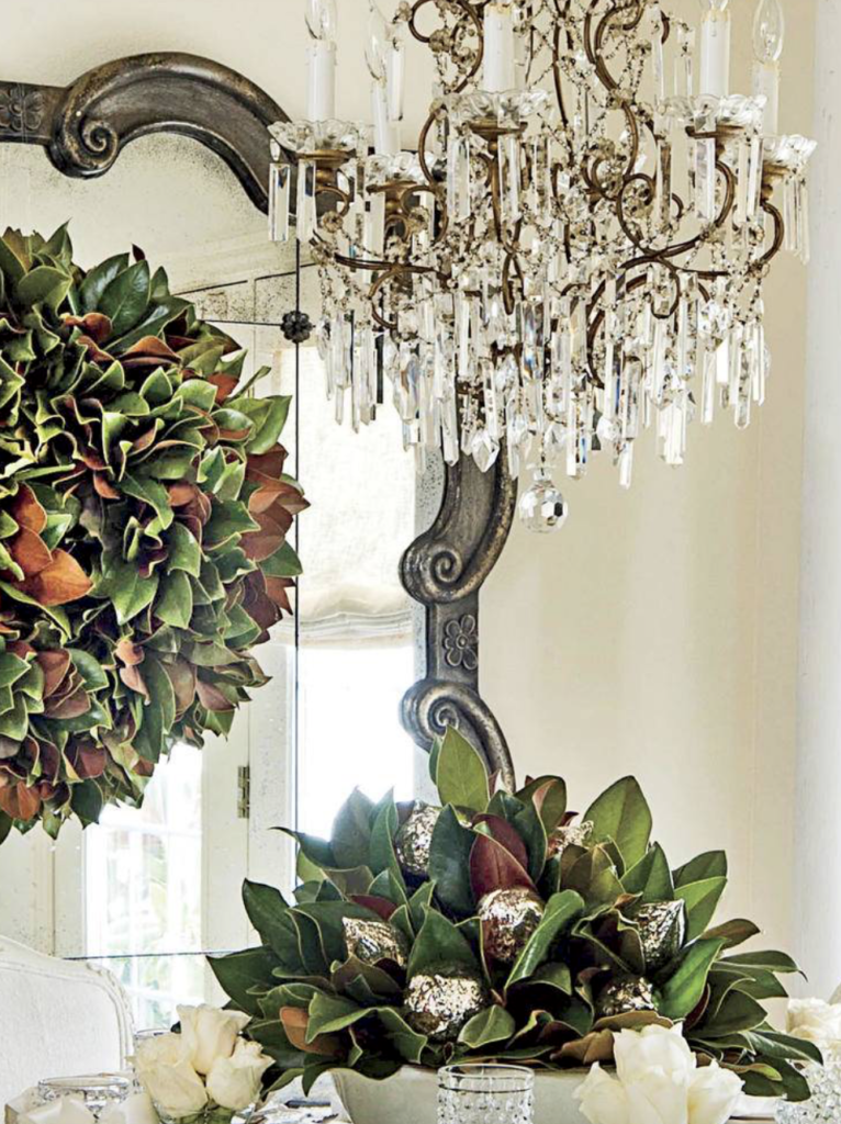 "Magnolia is all over the place here in the South.  You can't go wrong with plenty of natural greens, dressed up with anything white, silver or gold. (<a href=""https://www.southernliving.com/christmas/decor/fresh-christmas-greenery?slide=561044#561044"" target=""_blank"">Southern Living</a>/Laurey Glenn)"