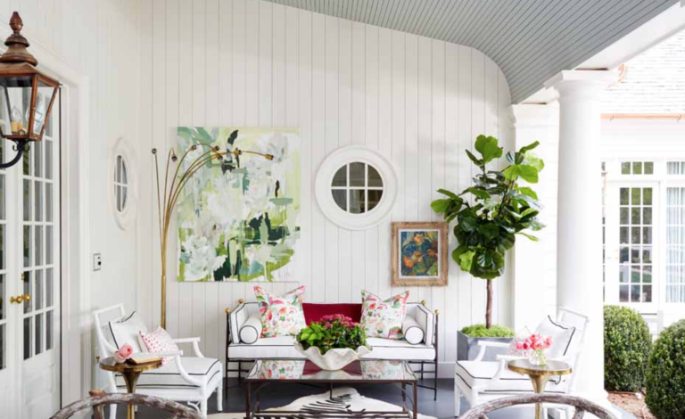 "We loved creating this fun and bright porch for the <a href=""https://atlantahomesmag.com/article/history-in-the-making/"" target=""_blank"">Atlanta Homes and Lifestyles Showhouse</a> in 2017."