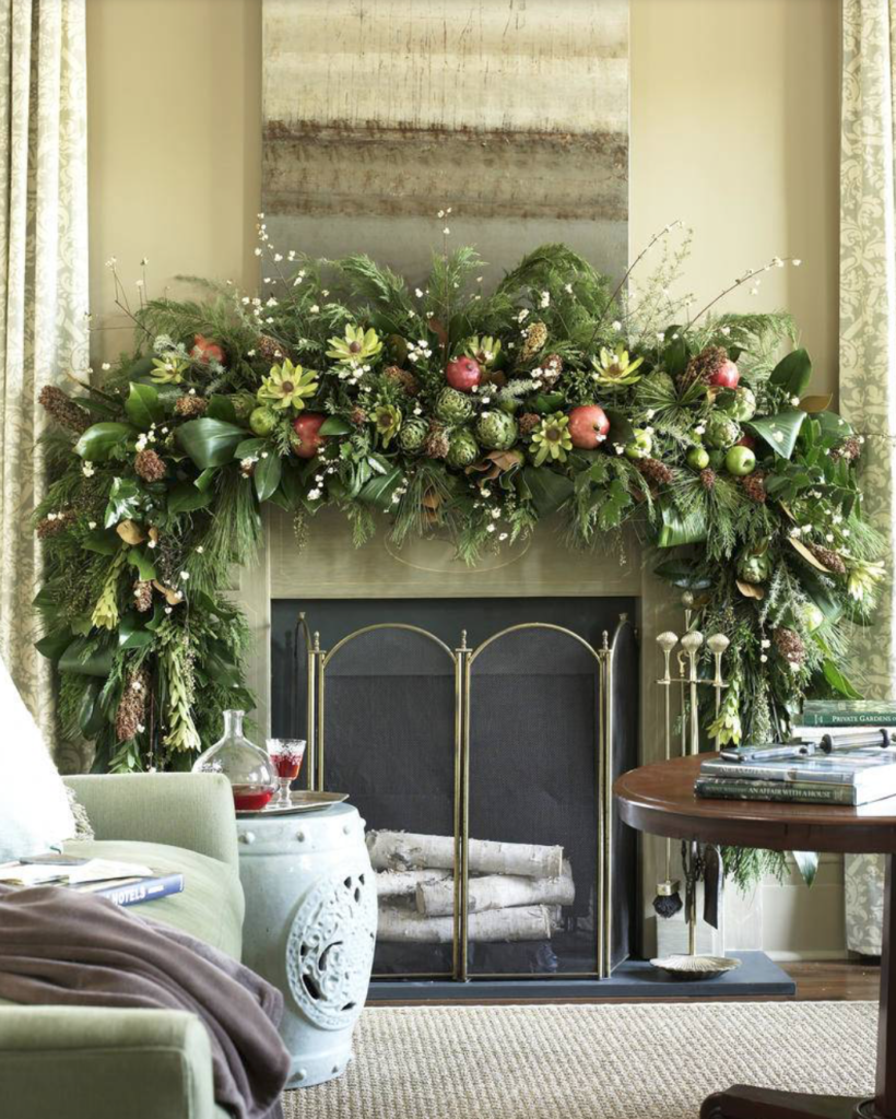 "Now that's a mantle that Santa can be proud of.  From <a href=""https://www.southernliving.com/food/holidays-occasions/christmas-holiday-mantel-decorating-ideas?slide=25304#25304"" target=""_blank"">Southern Living</a>/Emily Followill."