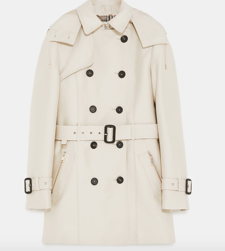 "We love shopping Zara in Paris. This is a great looking <a href=""https://www.zara.com/us/en/hooded-trench-p00518256.html?v1=6451494&v2=1074591"" target=""_blank"">raincoat</a> from their website."