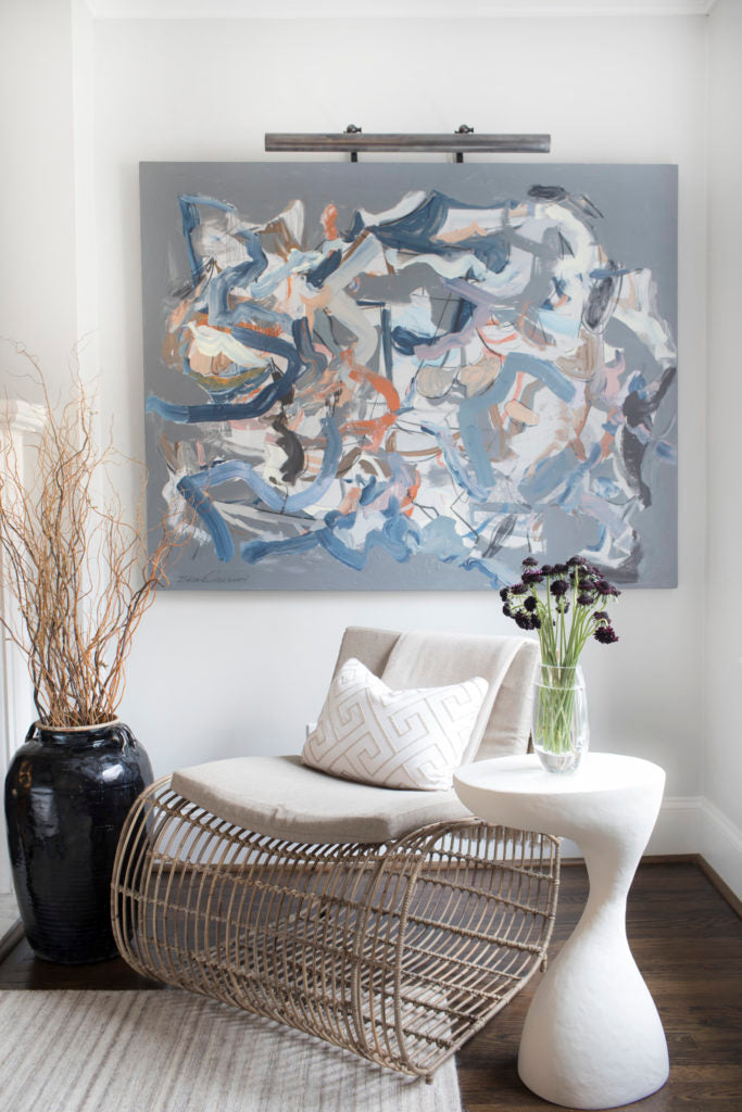 "Wow! What a great corner. And yes, we believe that chair came from <a href=""https://huffharrington.com/collections/furniture/seating"" target=""_blank"">Huff Harrington Home</a>! Photo: Sarah Dorio"