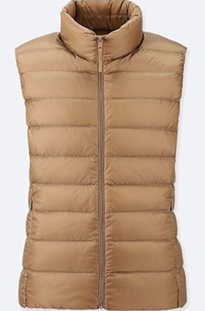 "We're also obsessed with <a href=""https://www.uniqlo.com/us/en/women-ultra-light-down-vest-409111.html?dwvar_409111_color=COL31&cgid=women-ultra-light-down-collection#start=17&cgid=women-ultra-light-down-collection"" target=""_blank"">Uniglo's ultra lightweight</a> vests.  They are the perfect layering piece – and they're very inexpensive!"