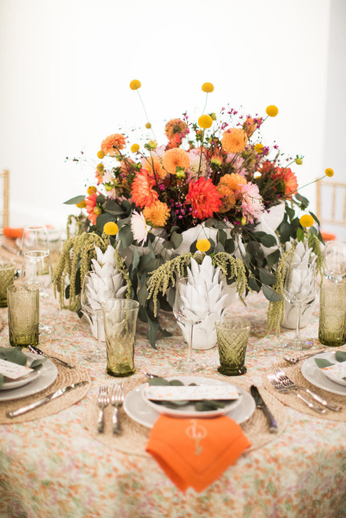 "Gorgeous mix of fall colors in this tablescape for ""To Live and Dine,""  an event sponsored by the Atlantan Magazine"