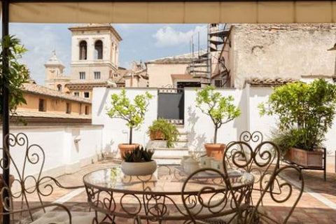The rooftop terrace of the Landini apartment