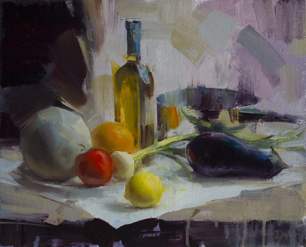 "<a href=""https://huffharrington.com/collections/ignat-ignatov/products/ignat-ignatov-still-life-with-eggplant"" target=""_blank"">Still Life with an Eggplant, 16×20, $2,500</a> at Huff Harrington Fine Art"