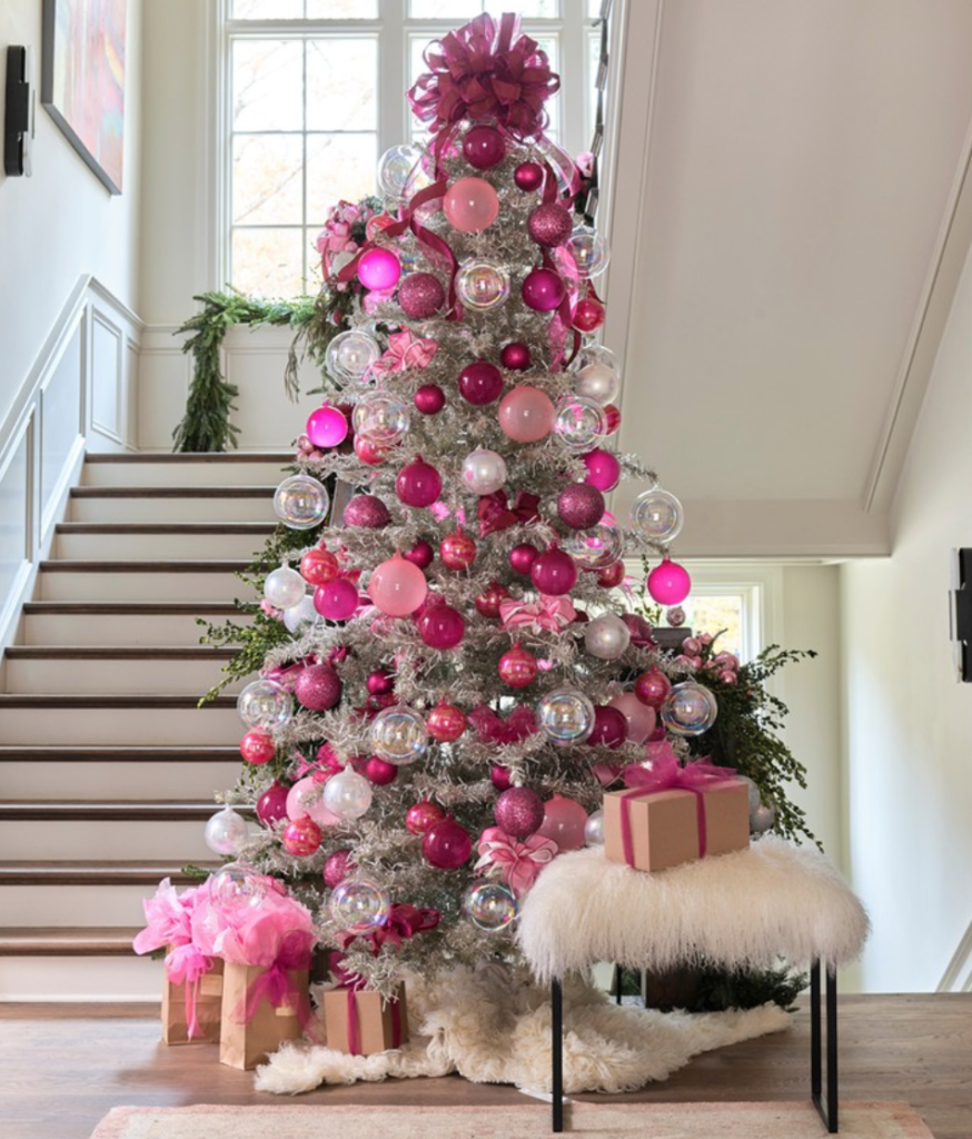 "Atlanta's Boxwoods went for the pink delightfully happy tree. (Atlanta Homes and Lifestyles <a href=""http://www.atlantaholidayhome.com/"" target=""_blank"">Home for the Holidays</a>/dhcphoto for Instagram)"