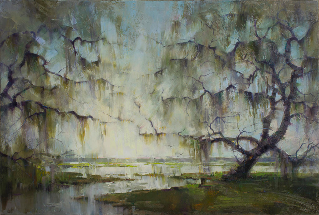 "<a href=""https://huffharrington.com/collections/ignat-ignatov/products/ignat-ignatov-morning-by-the-river"" target=""_blank"">Morning by the River, 24×36, $3,900</a> (painted at Magnolia Plantation)"