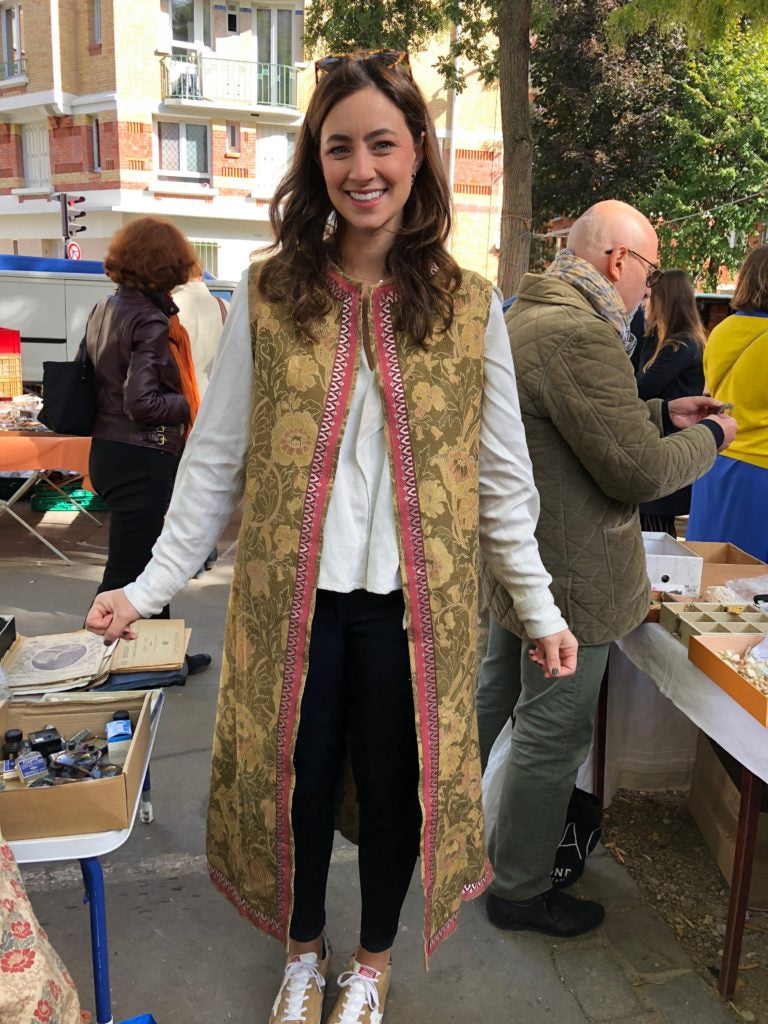 Kate, looking ever so chic in the vest she bought at the Vanves market on our trip!