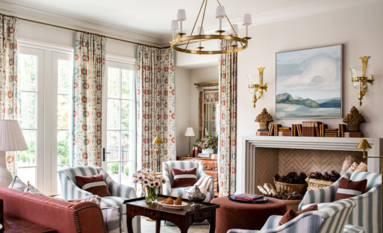 "<a href=""http://laurendeloachinteriors.com/"" target=""_blank"">Lauren Deloach</a> created the most delightful living space with a fun mix of pattern play – and a beautiful little vignette in the corner that contains a luminous Louis XV commode and a crunchy mix.  Brown furniture is back!"