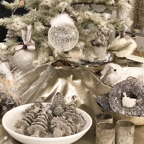 We'll mix up the ornaments so we've got some metal, glass, fur and even feathers.