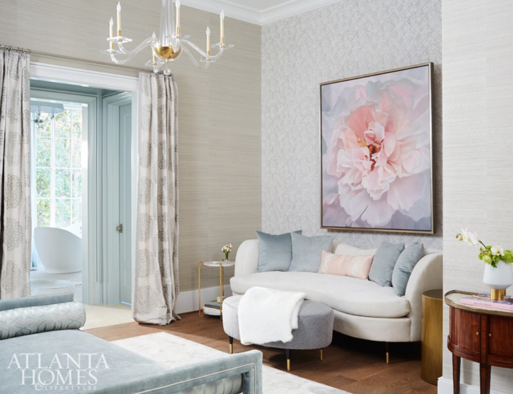 "<a href=""http://www.cathyrhodesinteriors.com/"" target=""_blank"">Cathy Rhodes</a> created this feminine and dreamy lounge spot near the master bedroom. Couldn't you cozy up in this space?"